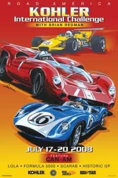 Road America Vintage Style Racing Poster, Scarab, Lola. Vintage racing.  by © Dennis Simon. This poster is available at centuryofspeed.com