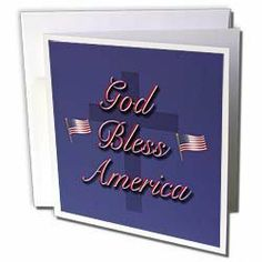 "777images Designs Graphic Design Patriotic - God Bless America in old glory red and white on a field of old glory blue with USA flags - Greeting Cards-12 Greeting Cards with envelopes by 3dRose. $15.95. God Bless America in old glory red and white on a field of old glory blue with USA flags Greeting Card is a great way to say ""thank you"" or to acknowledge any occasion. These blank cards are made of heavy duty card stock with a gloss exterior and a matte interio..."