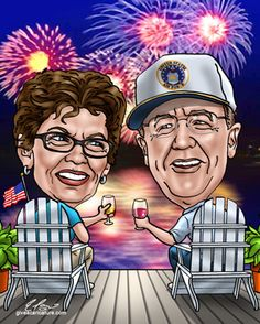 50th wedding anniversary caricature