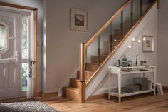 Cheshire Mouldings Reflections stair parts range creates the perfect modern staircase and includes newels, glass panels, handrails, baserails and more. Staircase Handrail, Stair Railing Design, Oak Stairs, Glass Stairs, Home Stairs Design, Wooden Staircases, House Stairs, Modern Stairs Design, Glass Stair Panels
