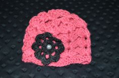Coral Pink Crochet Baby Beenie with purple flower by ESCreations14, $18.00