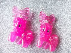My Little Pony Super Pink Glitter Pinkie Pie and Bow Charm Earrings
