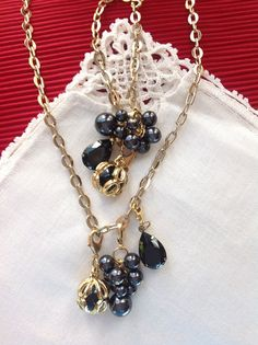 Black and Gold Charm Necklace and Bracelet by ColorsoftheSeasons