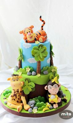 Tigger cake by Mito Sweets - Cake by Mito Sweets Jungle Safari Cake, Jungle Birthday Cakes, Jungle Theme Cakes, Safari Cakes, Crazy Cakes, Zoo Cake, Animal Cakes, Sweets Cake, Novelty Cakes
