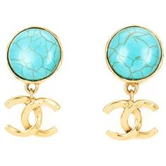 Chanel Vintage logo pendant earrings ($970) ❤ liked on Polyvore featuring jewelry, earrings, blue, pendant earrings, vintage pendant, blue pendant, turquoise pendant and turquoise jewelry