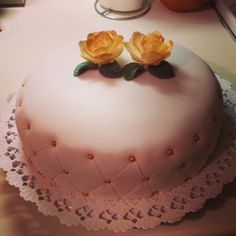 #white #curd with #truffel #cake with #yellow #rose