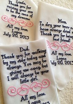 personalized handkerchief gifts from bride Set of four 4 Mother of the groom/bride and father of the groom/bride custom made personal Gifts For Wedding Party, Wedding Favors, Our Wedding, Dream Wedding, Wedding Tokens, Wedding Ceremony, Wedding Decorations, Parent Wedding Gifts, Wedding Tips