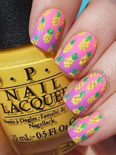Cute Bright Summer Matte Pineapple Ombre Nail Art
