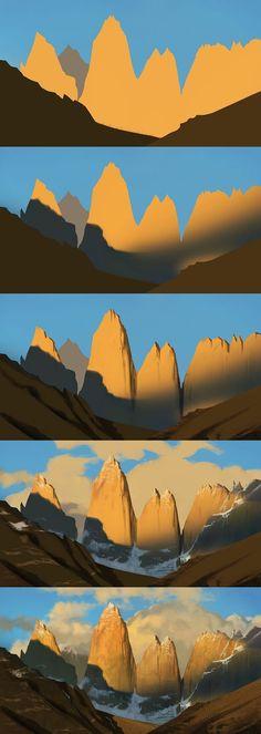Digital Painting Tutorials, Digital Art Tutorial, Art Tutorials, Digital Paintings, Drawing Tutorials, Drawing Tips, Landscape Concept, Landscape Art, Landscape Paintings