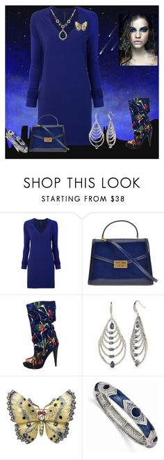 """""""Blue girl in the sky with a comfy sweater dress"""" by mkdetail ❤ liked on Polyvore featuring Paul Frank, Ilaria Nistri, Tory Burch, Carolee, 1928 and WithChic"""