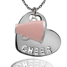 Silver Cheer Sport Heart and Pink Enamel Megaphone Necklace Cheer Mom, Cheer Stuff, Sassy Diva, Baileys, White Enamel, Holidays And Events, Cheerleading, Cheers, Dog Tag Necklace