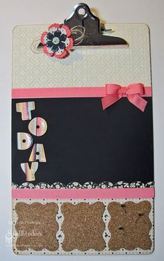 Message center - clip at top for papers, center section chalkboard paint and  mini corkboards on bottom. An altered clipboard that's actually useful. Made from legal size clipboard.
