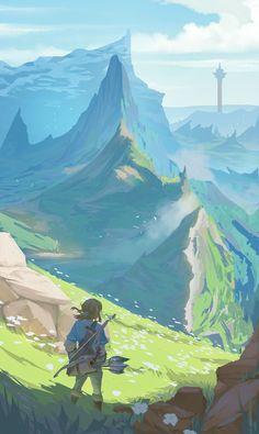 Fantasy Art Landscapes, Fantasy Landscape, Landscape Art, Zelda Breath Of Wild, Breath Of The Wild, The Legend Of Zelda, Legend Of Zelda Breath, Scenery Wallpaper, New Wallpaper