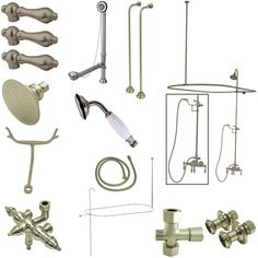 Kingston Brass Vintage Wall Mount Down Spout Clawfoot Tub and Shower Package with Metal Lever Handles, Satin Nickel
