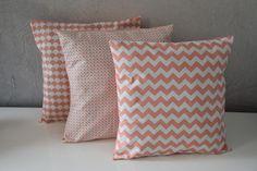 TRIO de coussins - 30X30cm - Tissus différents imprimés scandinave assortis - Tons corail et blanc : Textiles et tapis par aw-creations