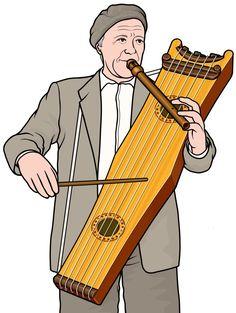 ストリングドラムを演奏する男性:楽器のイラスト
