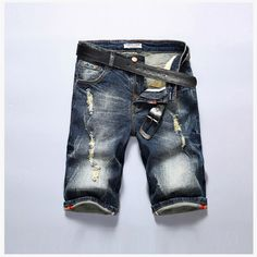 13.99$  Buy here - http://alial4.shopchina.info/1/go.php?t=32811078768 - Summer 2017 Mens Denim Shorts Men's Straight Casual Knee Length Short Masculina Ripped Jeans Shorts For Men 28-40 315/6/8/9  #magazine