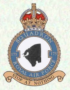#175 Squadron formed on 3 March 1942 at Warmwell, it took over the Hurricane IIBs left behind by the departing #402 Sq. Operations began the following month with an attack on an enemy airfield. The squadron continued with its armed reconnaissance operations against rail and armoured target for the remainder of the war and remained in Germany until disbanding at Schleswig-Holstein on 29 September 1945. Air Force Aircraft, 29 September, Military Cap, Royal Air Force, Crests, Badge, Patches, Germany, British