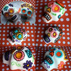 Sugar Skull Recipe (need mold)  makes 1 large sized skull. Mix all in a bowl---should feel like sand. Pack in mold allow to dry 12 hours.  decorate w/ icing.  2 cups granulated sugar  2 t cornstarch  2 t water*