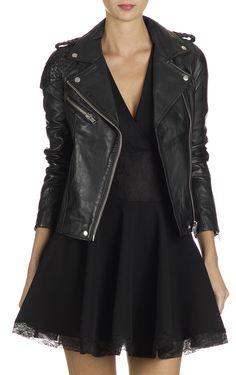 "Maje - ""Madone"" Black Leather Jacket"