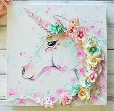 """""""Oh my, this Make It Prima mood board for August is just magical! I absolutely had to play along, my favourite pastel combination for sure. I created a unicorn canvas piece using Watercolor Confections and some Mixed media products. I just adore the mix Unicorn Painting, Unicorn Art, Hallo August, Diy And Crafts, Arts And Crafts, Unicorn Bedroom, Mermaid Bedroom, Unicorns And Mermaids, Art Diy"""