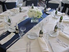 Table set up...navy blue and white with mini champagne bottle wedding favors!