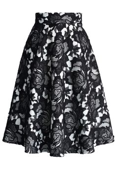 My Dear Roses Lace A-line Midi Skirt in Black #skirt #lace #floral