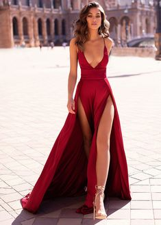Evening Dress ,Thigh High Slits Sexy Evening Dress Elastic Satin Concise Long Party Gowns Spaghetti Straps Deep V Neck Hot Evening Dresses Inexpensive Prom Dresses, Elegant Dresses, Pretty Dresses, Sexy Dresses, Fashion Dresses, Sexy Long Dress, Sexy Gown, Long Gown Elegant, Woman Dresses