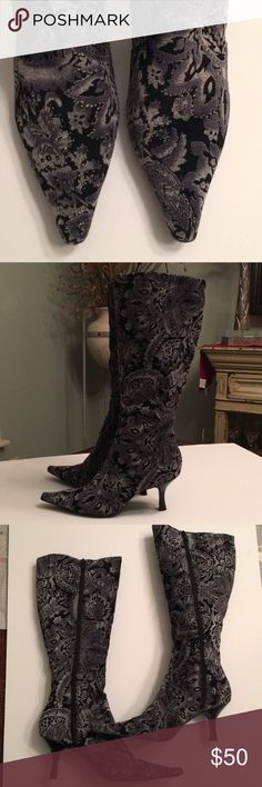 "🔥BRONX BOOTS🔥 Like new condition! Black and gray tapestry with silver highlights, these boots are amazing!!! Heel height is 3"" and shaft is 13"" from heel to top. Zip up sides and comfy interior! Bronx Shoes Heeled Boots"