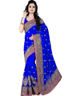 Mesmeric Embroidered Blue Catonic And Georgette Party Wear Designer Saree