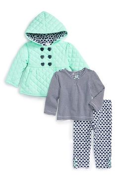 Infant Girl's Little Me Quilted Jacket, Top & Leggings