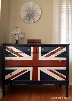 Reserved listing for Karen-Union Jack painted/stained dresser distressed Vintage Furniture, Painted Furniture, Diy Furniture, Painted Dressers, Reclaimed Furniture, Refinished Furniture, Furniture Makeover, Union Jack Dresser, Scrappy Quilts