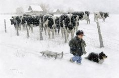 Wall Tapestry: Cow Wall Tapestry by Robert Duncan : Farm Pictures, Snow Pictures, Robert Duncan Art, Farm Art, Cow Art, Winter Art, Winter Painting, Winter Holiday, Illustrations