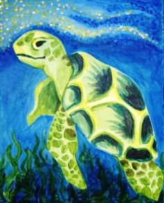 Painting idea, easy painting of sea turtle. If you ever wanted to paint one, this is a good one to practice on. You could coral, fish and bubbles. Please also visit www.JustForYouPropheticArt.com and https://www.facebook.com/Propheticartjustforyou for more colorful Art paintings and prints. Thank you so much! Blessings!