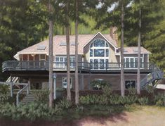 A Custom House Portrait Painting in pastel by Lisa Cunningham.