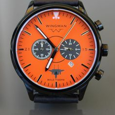 We built this watch with the F-15E 391st Fighter Squadron, the Bold Tigers.  We love how this orange face (bold indeed) looks against the polished pvd-black watch case!  This is one of many in a trend of groups wanting to build a watch with uniquely colored dials.  Contact us to get your design included with our  next customized watch build. #customwatch #wingmanwatches #wheresyourwingman #boldtigers #F15e #391stfightersquadron
