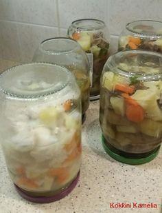 Κονσερβοποίηση φαγητού Greek Recipes, Kitchen Hacks, Cantaloupe, Cucumber, Food And Drink, Pudding, Canning, Fruit, Desserts