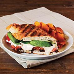 Quick and Easy Sandwich Recipes: Summer Tomato, Mozzarella, and Basil Panini with Balsamic Syrup Recipe   CookingLight.com