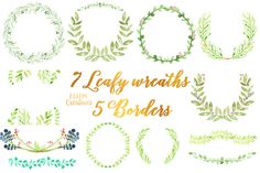 Watercolor Laurel Foliage Wreaths by Essem Creatives on @creativemarket