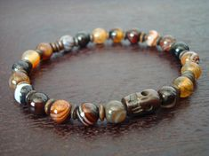 Men's Wisdom & Positivity Mala Bracelet - Red Sardonyx and Tibetan Skull Mala…