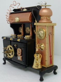 Deb's Minis presents the Steampunk Stylings of Dr. Scale miniatures for dollhouses and fans of fantasy, steampunk, and flights of fancy. Steampunk Kitchen, Viktorianischer Steampunk, Steampunk Kunst, Steampunk Gadgets, Steampunk House, Steampunk Design, Steampunk Fashion, Steampunk Crafts, Gothic Fashion