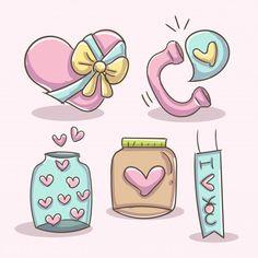 Outline Illustration, Character Illustration, Heart Outline, Doodles, Balloon Shapes, Doodle Designs, Kawaii Drawings, Rock Crafts, Vintage Labels