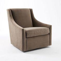 Sweep Arm Swivel Chair, Performance Velvet, Lagoon ... not this colour