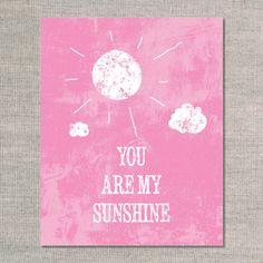 nursery prints & graphics: you are my sunshine distressed - flamingo