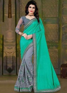 7d1e9d9f0f0 Green Grey Embroidery Work Silk Net Designer Fancy Half Party Wear Sarees. Buy  online shopping sarees at - India.
