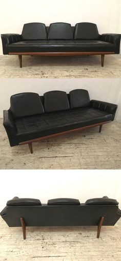 A vinyl Midcentury modern sofa with strong Adrian Pearsall-style details.