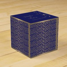 Gold and Navy Blue Filigree Wedding Favor Box