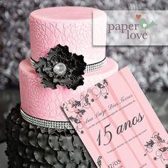Pink and Black - 15 anos Beautiful Cakes, Amazing Cakes, 15th Birthday, Birthday Cake, Paris Cakes, Tall Cakes, Quinceanera Party, Creative Cakes, Sweet Sixteen