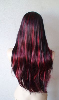 Black hair with burgundy red highlight. Omg. if I didn't die my hair white, it would be like this
