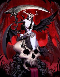 Hela Lokisdottir by GENZOMAN, Digital Painting, Illustration, Fantasy Necromancer, Rpg, Sexy female character, Inspirational Art